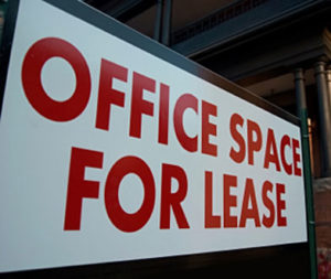 office amenities - sign touting office space for lease