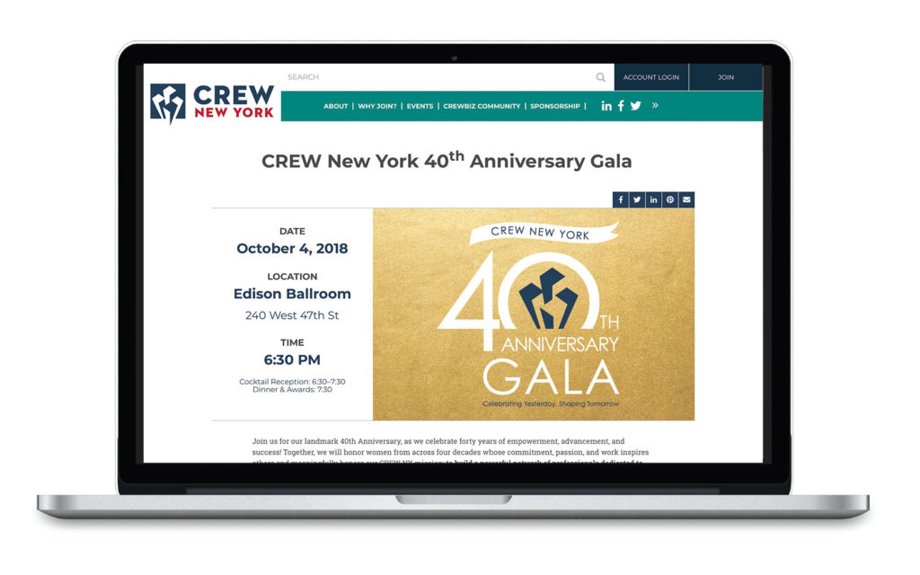 Webpage for CREW New York 40th Anniversary Gala, developed by Pace